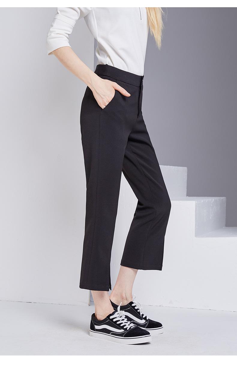 bootyjeans spring 2018 new European high-end women's slim black all-match split ankle length pants casual bottom pants 37