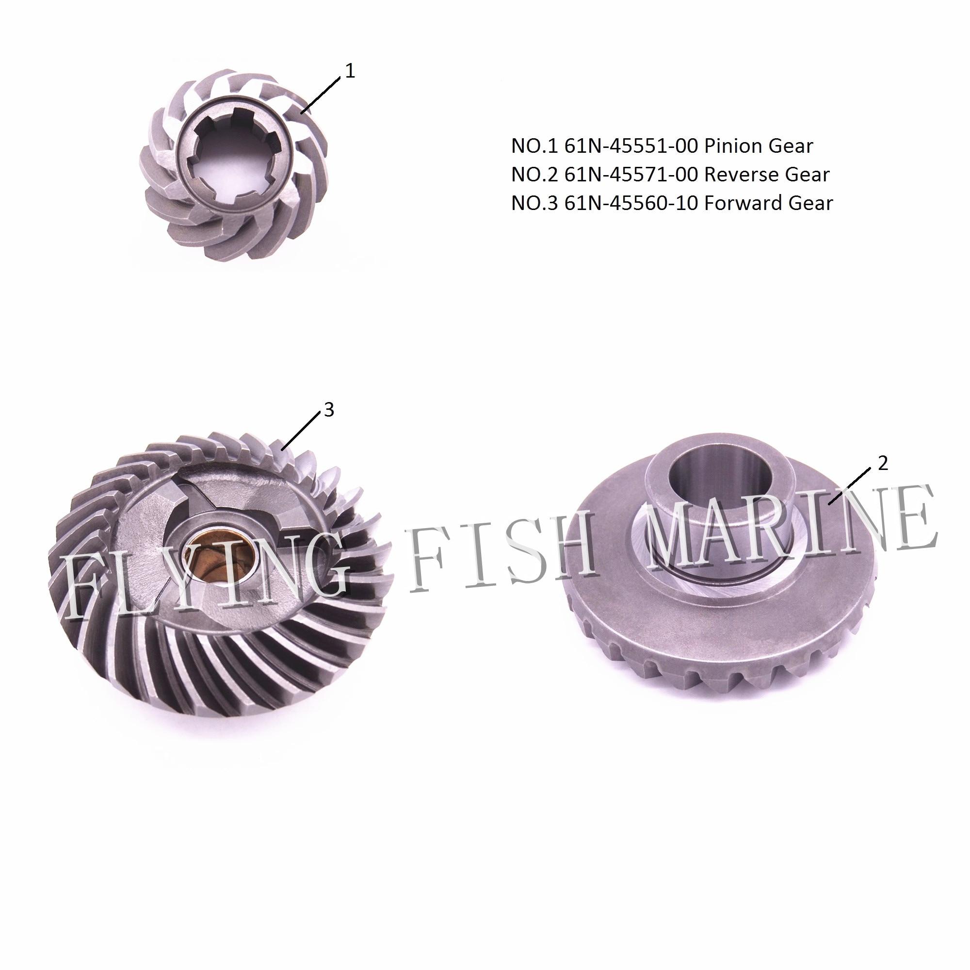 Outboard Engine 61N-45551-00 Pinion & 61N-45571-00 Reverse & 61N-45560-10 Forward Gear for Yamaha F25 E25B E30H 25B 30H 9vn1030d2l 00 10