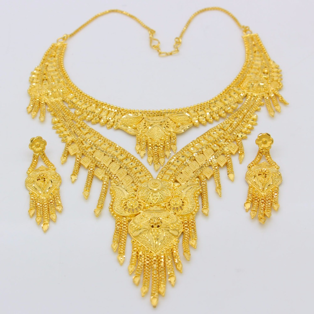 Adixyn nouveau 2018 de luxe arabe Dubai collier/boucles d'oreilles ensemble de bijoux couleur or et cuivre cadeaux africains mariée accessoires de mariage - 4