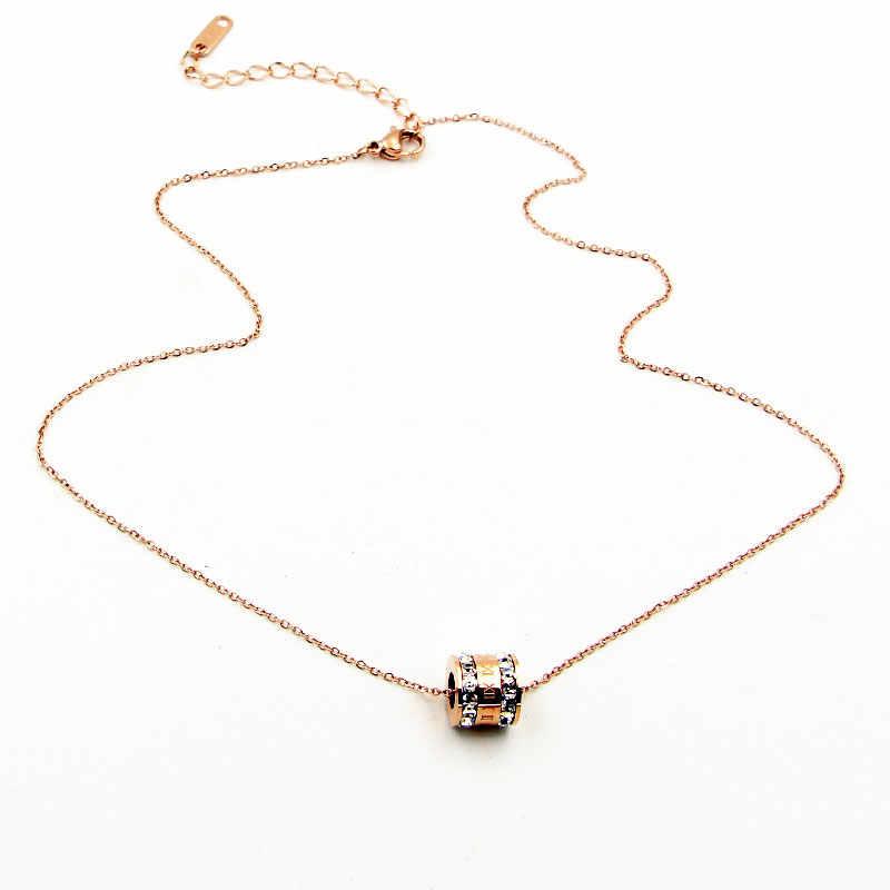 Beaux chiffres romains deux tours Zircon pendentif collier pour les femmes titane acier Rose or couleur collier bijoux cadeau