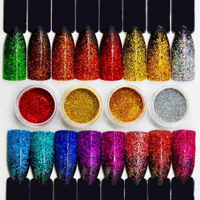 Laser Holographic Glitter Powder Shine Holographic Powder for Nails Art Tinsel for Nails Dust Grinding Holo Dipping SF2038