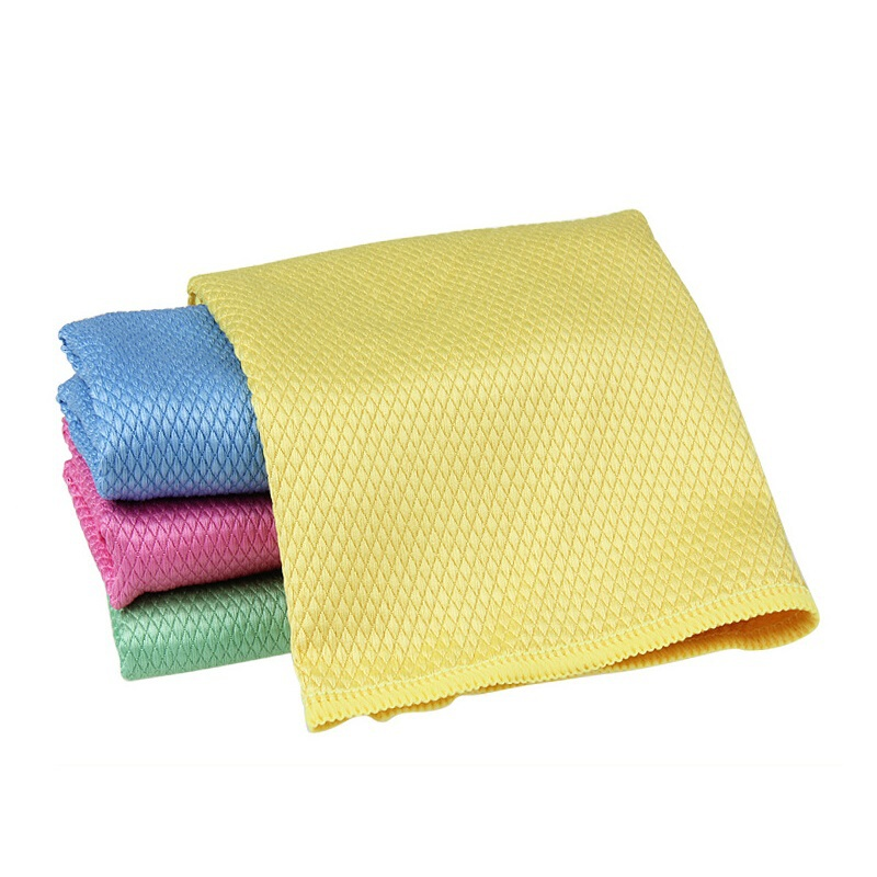 6 Pieces Diamond Grid Solid Absorbent Microfiber Glass Cleaning Cloth Kitchen Polish Table Window Towels Panno Da Cucina 30*40cm
