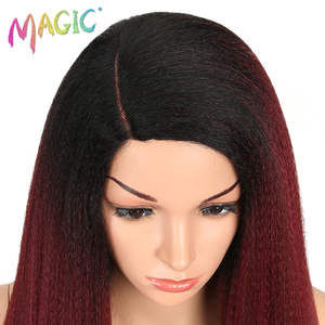 Image 5 - MAGIC Hair Synthetic Wigs For Black Women 28 Inch 70CM Heat Resistant Fiber Hair Long Ombre Brown Yaki Straight Lace Front Wig