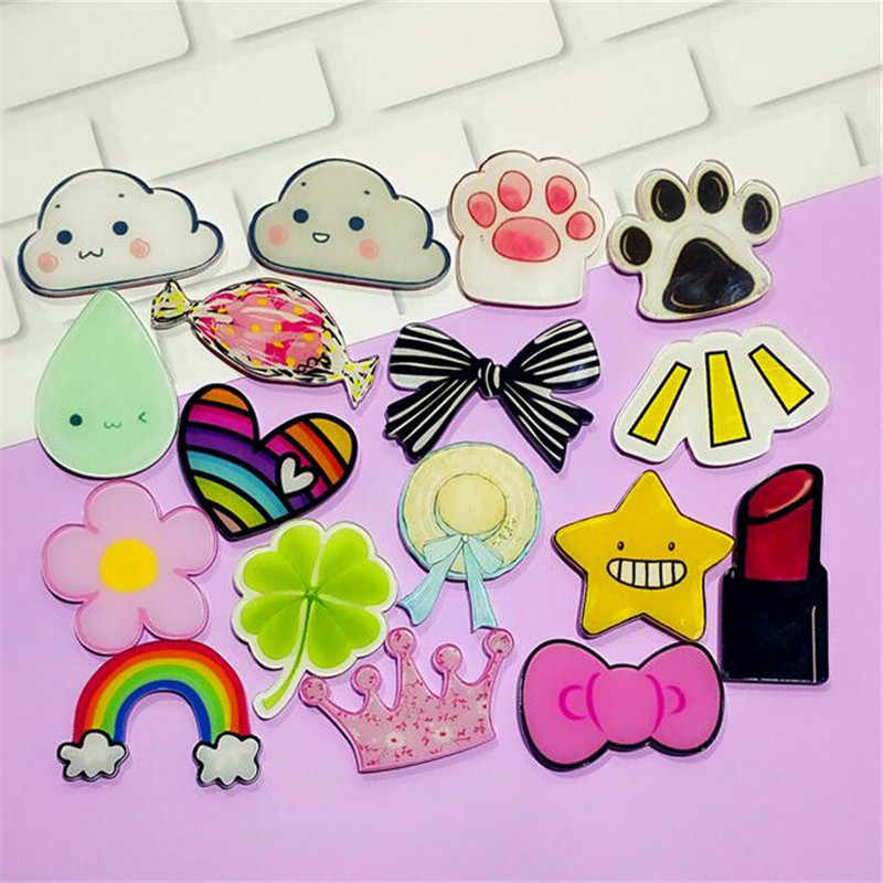 Maxsin Fun 1 PC Cartoon Leaf Rainbow Star Bow Brooch Acrylic Badges Icons on The Backpack Pin Badge Decoration Badges for bags