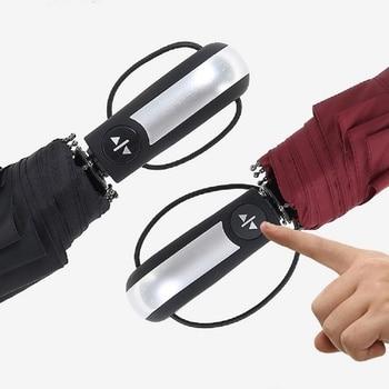 105 centimetri dieci ossa di rinforzo ombrello pieghevole uomini e donne lungo manico semplice colore solido automatico tre volte Aumento di 10