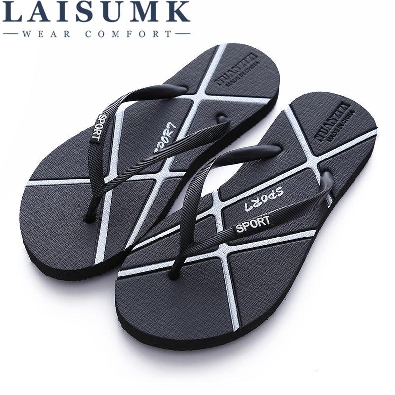 b9f76c4a9e8 Detail Feedback Questions about LAISUMK Hot Sale Summer Rubber Shoes  Fashion Flip Flops Men Sandals Male Flat Beach Slippers Black Gold Silver  Plus Size 35 ...