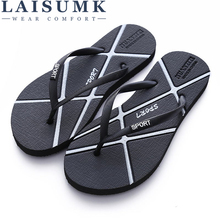 LAISUMK Hot Sale Summer Rubber Shoes Fashion Flip Flops Men Sandals Male Flat Beach Slippers Black Gold Silver Plus Size 35 - 46