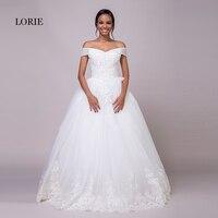 LORIE Fora do Casamento Shoulder Dresses New Rendas Appliqued Beading plus Size Lace Up Até O Chão Vestido Nupcial do Vestido de casamento 2018