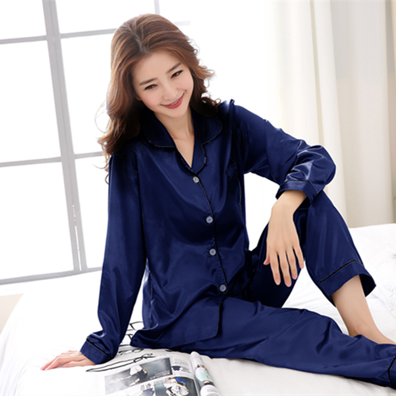 Pijama Promotion Pijamas New 2018 Women   Pajama     Sets   satin silk soft Sleepwear Long Sleeve Cute Cat Lounge   Set   Leisure Homewear