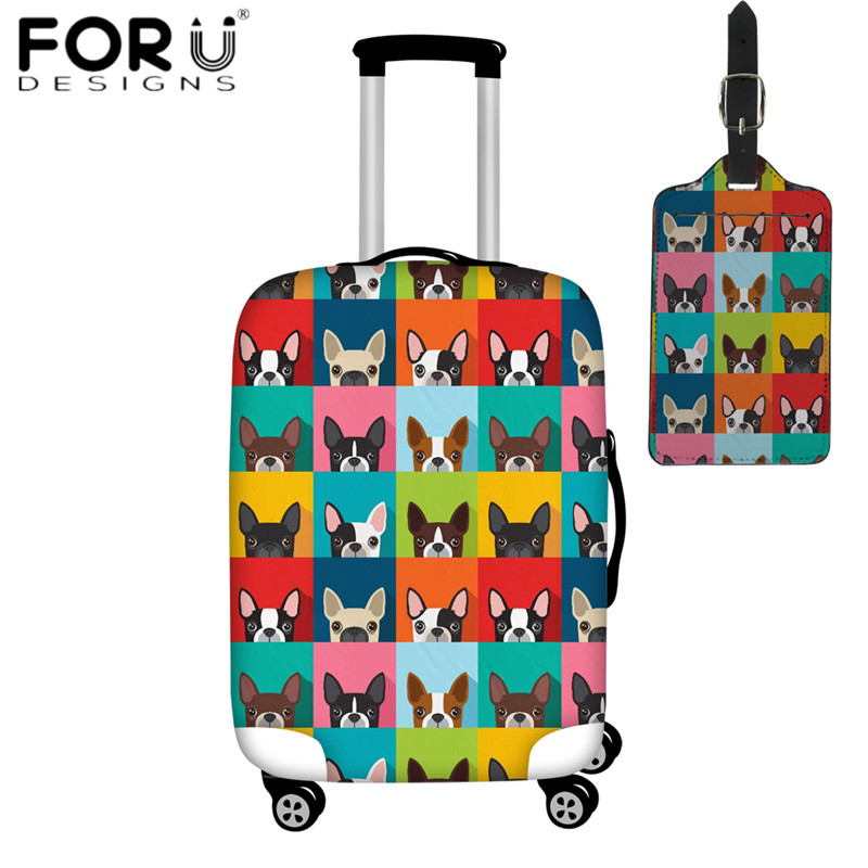 FORUDESIGNS Cute Boston Terrier Print Travel Luggage Covers 2pcs/Set Travel Accessories Suitcase Protective Cover & Luggage Tag