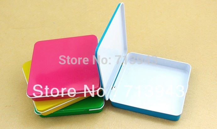 Volná loď / 100x95x17mm malá plechová krabička se závěsem / cigaretovou krabicí / krabičkou / kovovým pouzdrem s 5 barvami