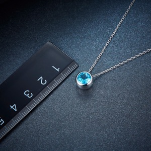 Image 5 - Hutang 1.65ct Blue Topaz Womens Pendant, Solid 925 Sterling Silver Chain Natural Gemstone Fine Elegant Jewelry for Gift New