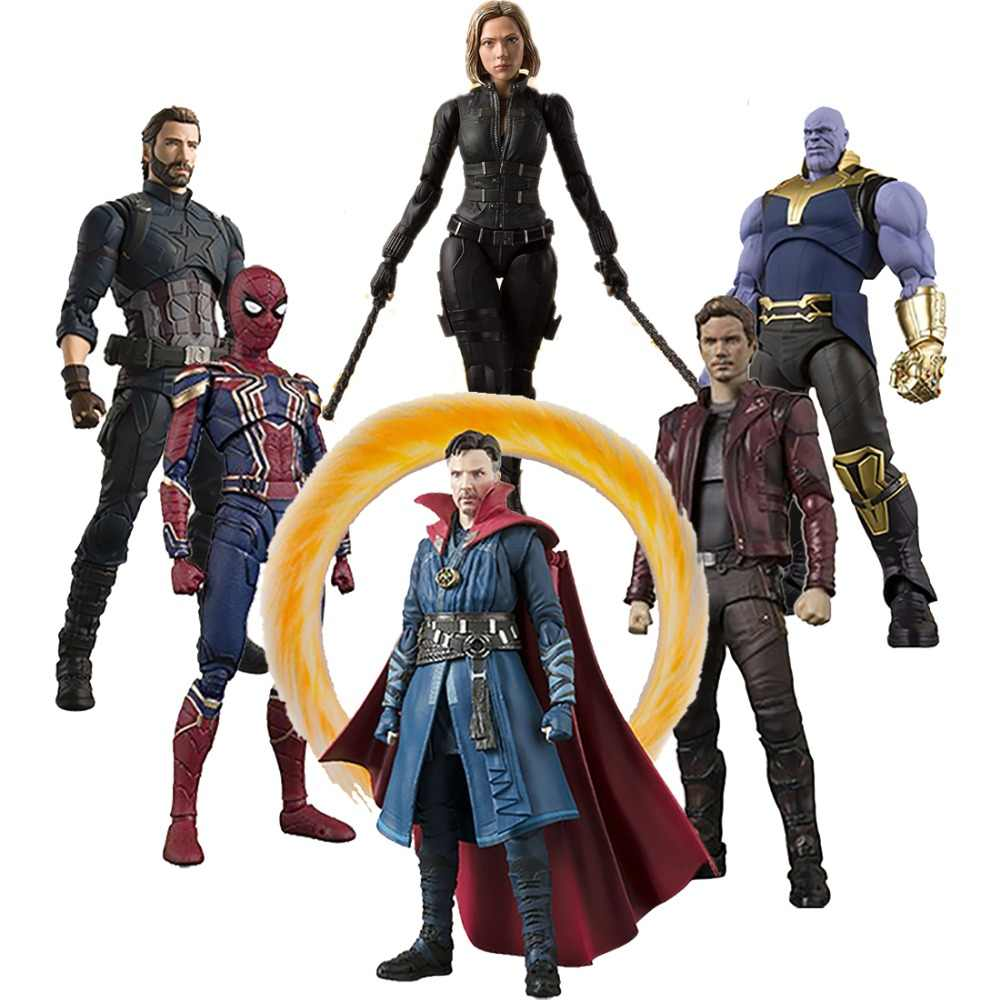 SHF Avengers Infinity Guerra Thanos Iron Man SpiderMan Black Widow Captain America del Dottor Strange Star Carico Action Figure