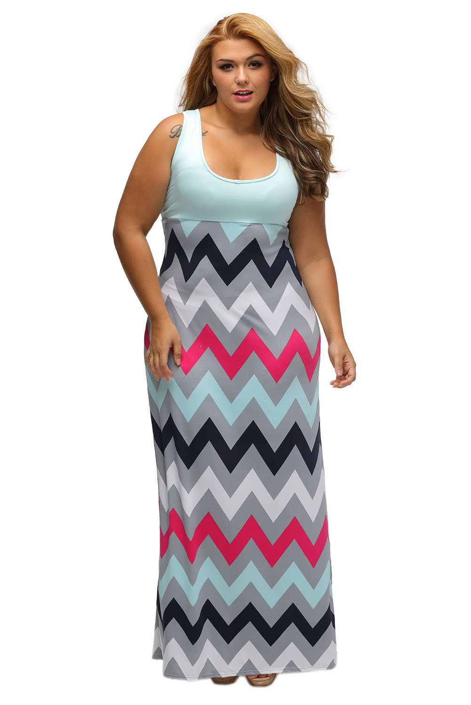 New Sexy Women Causal Plus Size Dress XL-3XL Color Block O-Neck Sleeveless Floor-Length Pink Top Multicolor Zigzag Maxi Dress