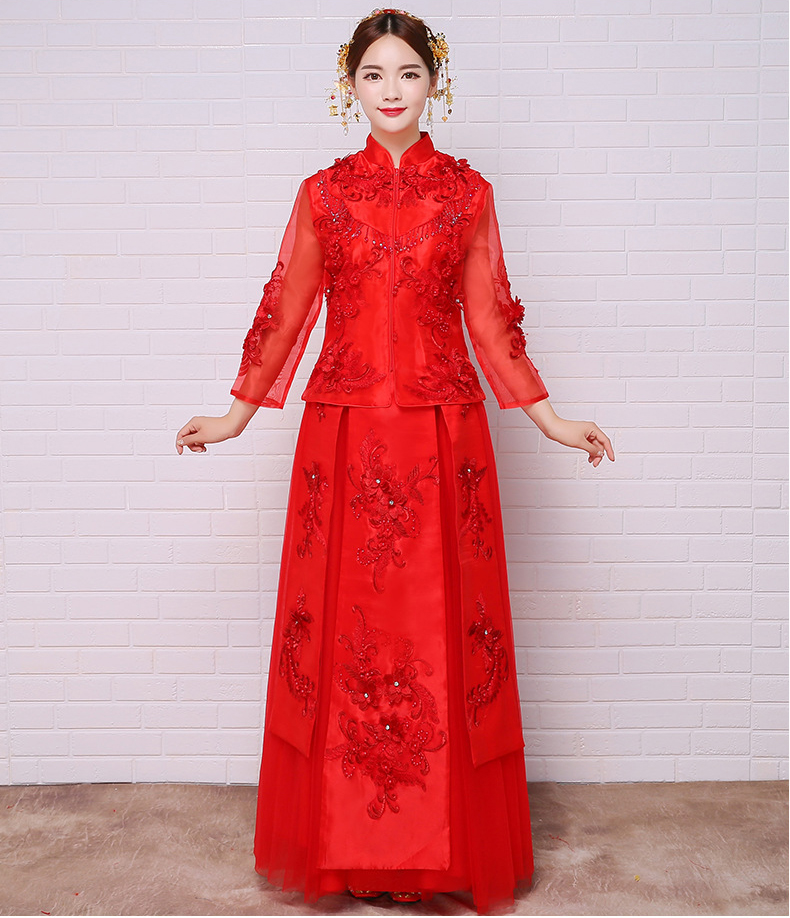 China Style Wedding Dress Bridal Gown Embroidery Cheongsam