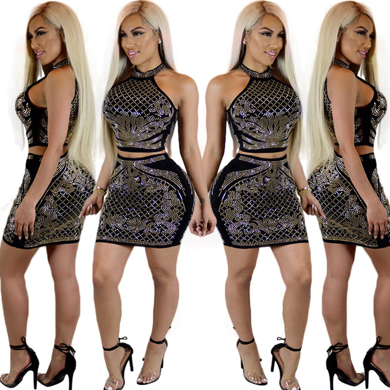 Rhinestone Two Piece Dresses Women New Fashion Embellished Crop Top and Mini  Skirt Set Party Nightclub Outfits Sexy 2 Piece Sets-in Women s Sets from ... a071deffa503