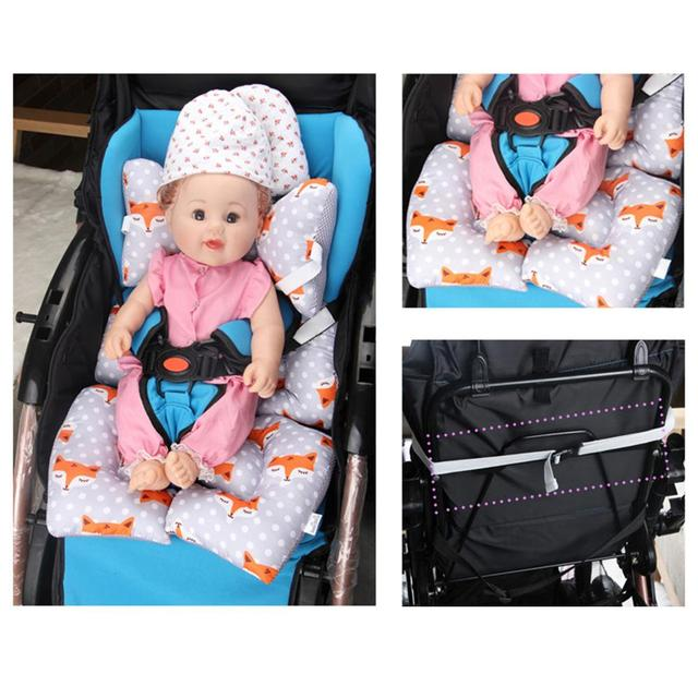 Soft Car Safety Seat Cushion For Baby Folding Cotton Liner Stroller Seat Pad Baby Full Body Support Cushion Pad Stars Design