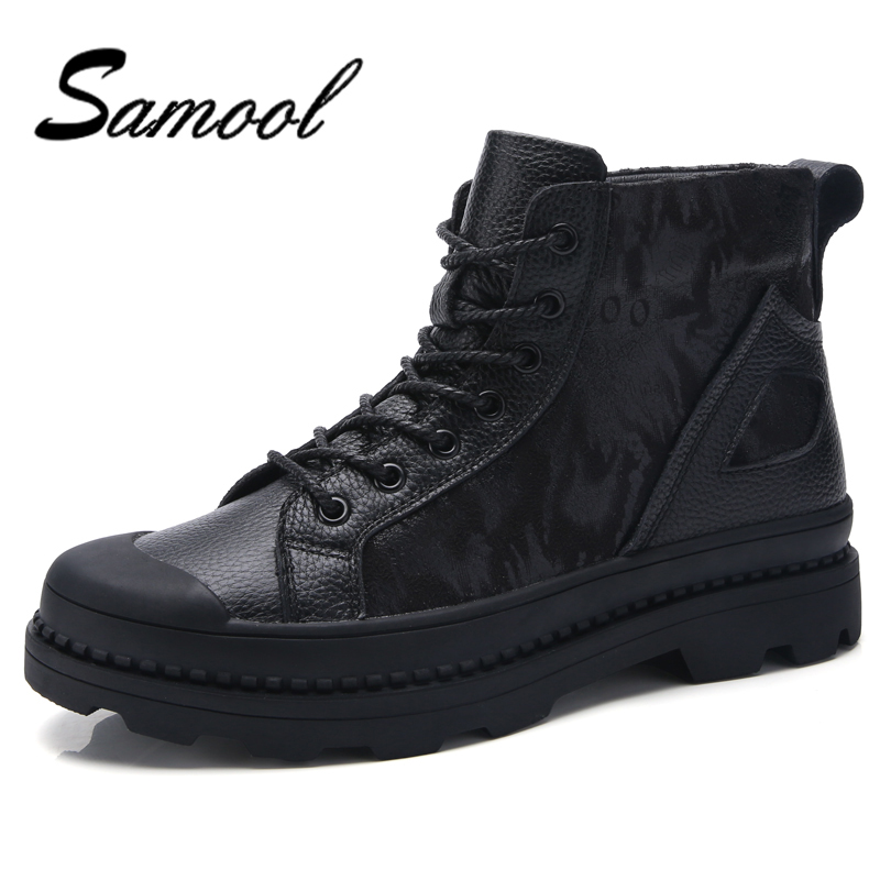 Men Winter Shoes Warm Comfortable Fashion Genuine Leather Martin Snow Boots Waterproof Boots Men's wool Plush Warm Boots FX5 elevator shoes taller 2 56 inch winter genuine leather men boots fashion warm wool ankle boots men snow boots shoes hot sale