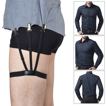 1 Pair  Men Shirt Stays Belt with Non-slip Locking Clips Keep Shirt Tucked Leg Thigh Suspender Garters Strap