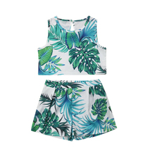 Newborn Baby Clothing Set Toddler Girls Clothes Leaves Print  Sleeveless Tops+Shorts 2PCS Casual Outfits Set Baby Girl Sunsuit newborn baby girl clothes sleeveless tops shorts 2pcs outfits set 0 18m girls rompers clothing