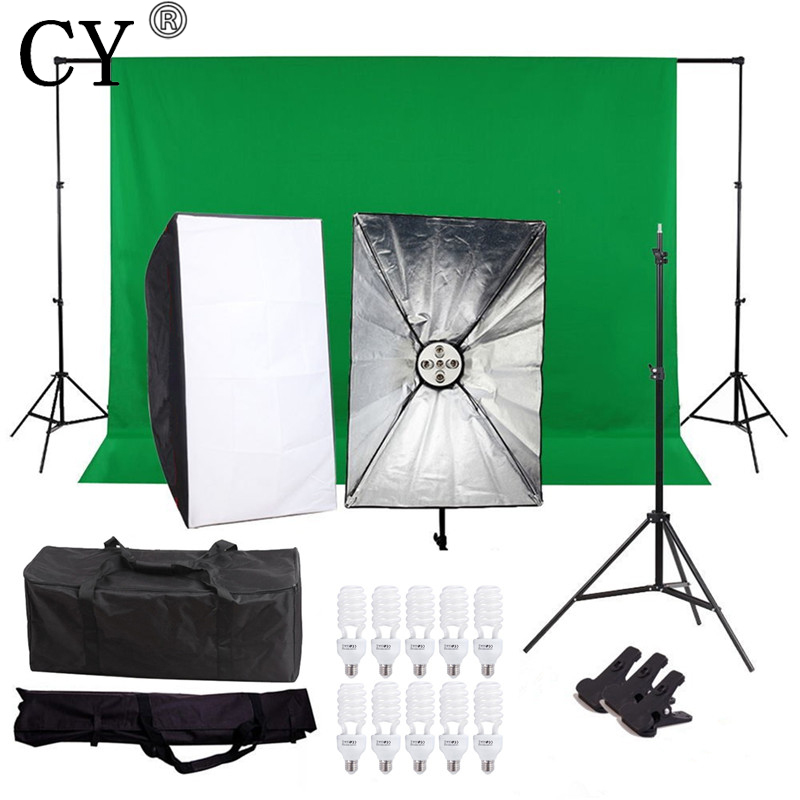CY Photography Continuous Soft Box Lighting Kits 450W 220V 5 Socket Head 60x90cm Softbox with Photo Studio Background Stand Set photography studio soft box continuous lighting kits 5 lamp head holder 2 softbox 2 light stand 2 45w bulbs 10 photo studio set