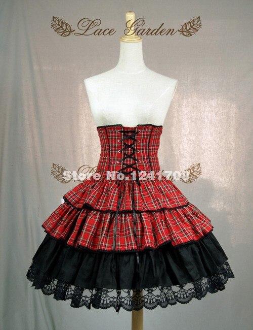 Индивидуальные Женские кружевное платье принцессы с юбкой из тюля; Милая юбка для девочек-подростков в стиле «панк» Красный Клетчатый хлопковый Лолита юбка для девочек модные юбки - Цвет: Красный