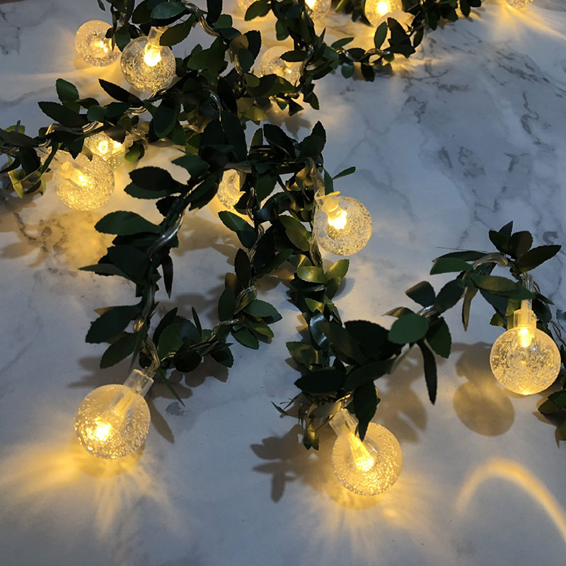 Lights & Lighting Considerate 2.5cm Ball Led Light With Green Leaf Fairy Light Garland For Christmas Garden Holiday Home Decoration 3m20leds Battery Powered Latest Technology