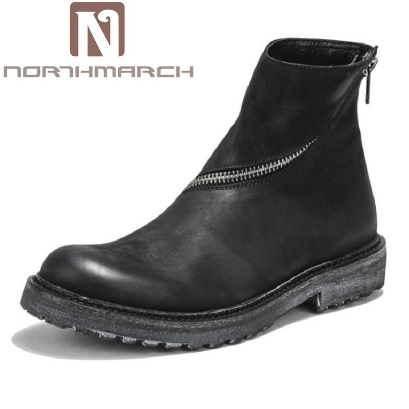 Northmarch Punk Vintage Schwarzes Martins Rindsleder Top Winter Männer Ankle High Schuhe Retro Männlichen Stiefel Dr Motorradstiefel Schnee raqxrIETw8