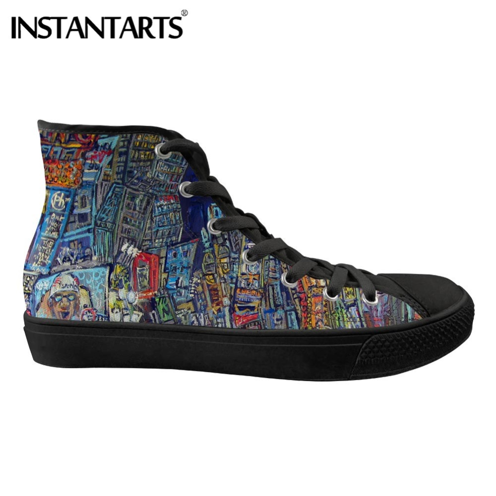 INSTANTARTS Men Canvas Shoes Breathable Spring High Top Casual Shoes Man s Vulcanize Shoes Painting Art