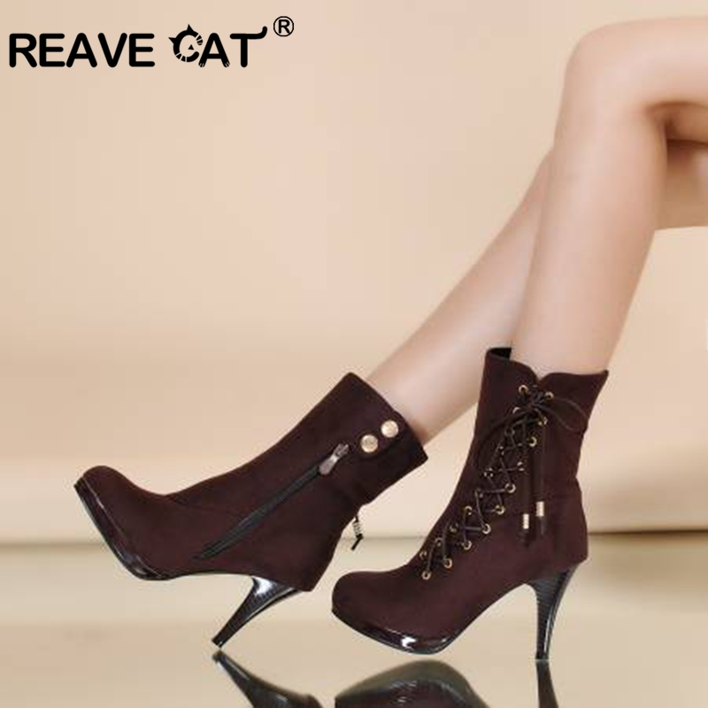 REAVE CAT Women fashion flock boots Ladies ankle boots winter Short plush shoes Thin Heel round Toe botas mujer lace up A1504