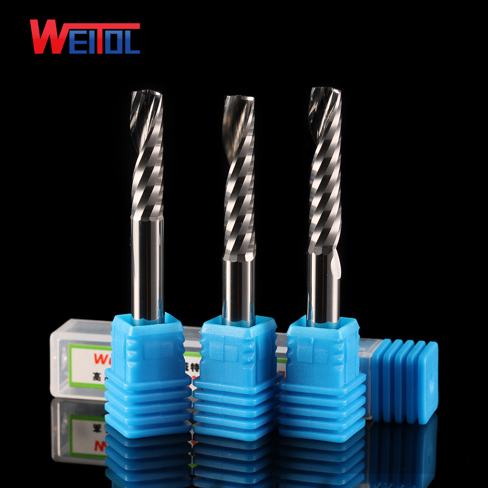 Weito N 10pcs 6 mm Single Flute Bit Carbide End Mill Set, CNC Router Mills for Acrylic cutting bit