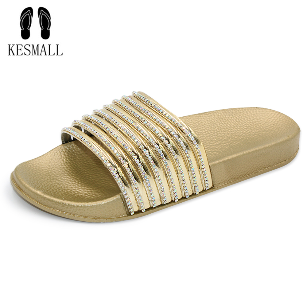 2018 New Summer Women Slippers Crystal Slippers Non-slip Indoor Home Slipper Outdoor Bea ...