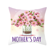 Fuwatacchi Happy Mothers Day Gift Cushion Cover Romantic Pink Rose Pillow for Sofa Chair Car Decorative Floral Pillowcase
