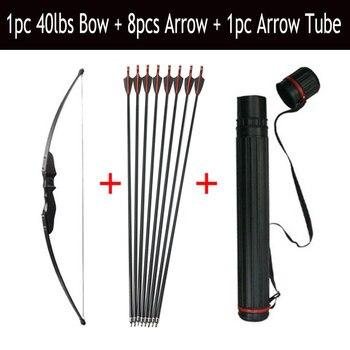 fba93770a 30 40lbs tiro con arco recurvo arco y flecha Set de 8 piezas de fibra de  vidrio de la flecha de la columna 500 con flecha de la aljaba caza tiro  accesorios