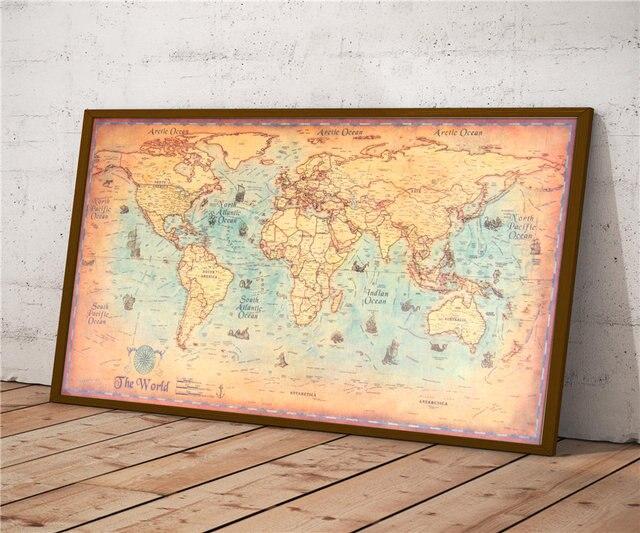 World Map Vintage Kraft Paper Poster Retro Wall Art Crafts Sticker ...