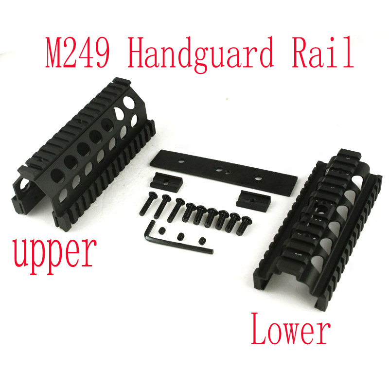 Tactical handguard rail M249 Upper and Lower Scope mount Handguard Rails System Hunting accessories ak 47 tactical quad rail picatinny handguard system cnc aluminum full length tactical for ak rifles 26cm hunting gun accessories