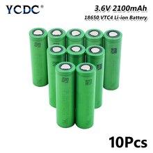 1/2/4/6/8/10 Pieces 3.6 V 볼트 녹색 평면 18650 리튬 이온 리튬 배터리 충전식 2100mAh 높은 드레인 VTC4 18650 배터리