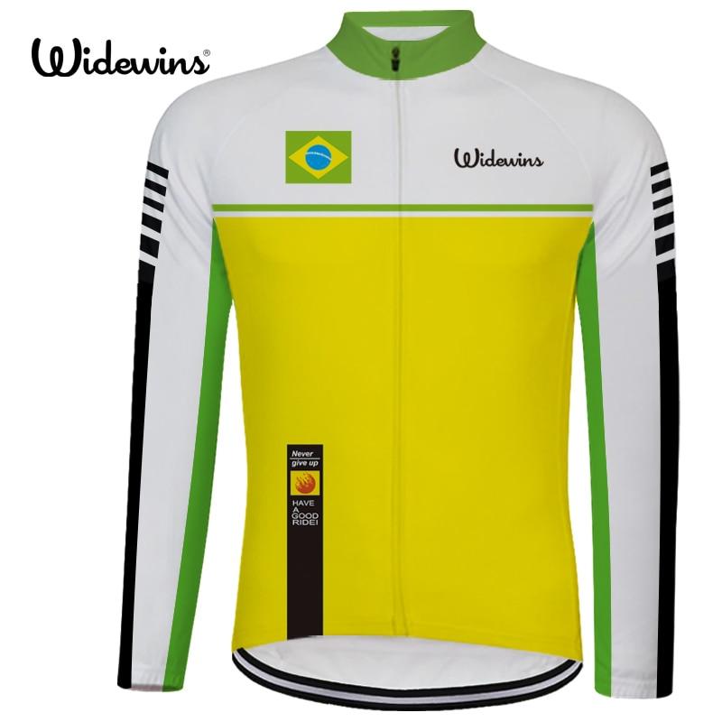 brazil Pro Հեծանվավազք Jersey երկար Breathable հարմարավետ Հեծանվավազք Jersey- ի բացօթյա սպորտային հագուստի բրազիլ 6540