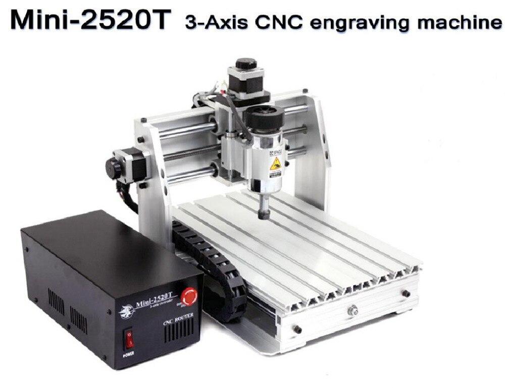 3 axis DIY CNC router 2520T CNC Mini  Engraving machine Wood PCB PVC Milling Machine Support MACH3 System acctek mini engraving router machine akg6090 square rails mach 3 system usb connection