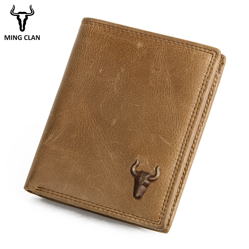 Mingclan Wallet Men 100% Genuine Leather Short Wallet Vintage Cow Leather Casual Male Wallet Purse Standard Crad Holders Wallets