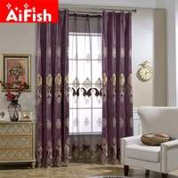 Luxury Curtains Tulle For Living Room European Chenille Embroidery Velvet Curtains Tulle Purple Bedroom Decorate Panel