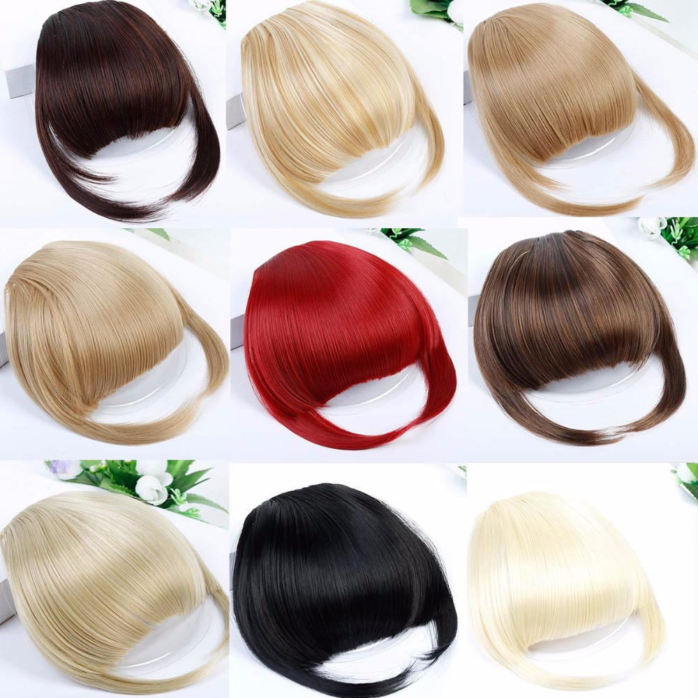 JINKAILI Fake Bangs Hair Women Synthetic Natural Bang Flase Hair Fringe Hair Extensions Front on Blunt Wig