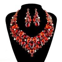 Statement Necklace earrings set Women Wedding rhinestone Dress Accessories Jewelry sets Bridal Dress Jewelry set Party Gift