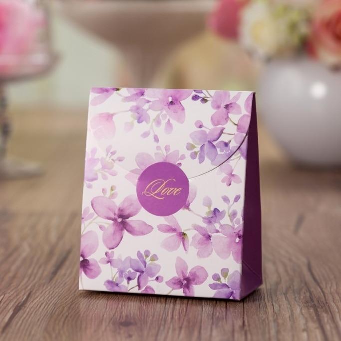 violet flower printed wedding GIFT favor box CB5020 chocolate holder ,match invitation card CW5020