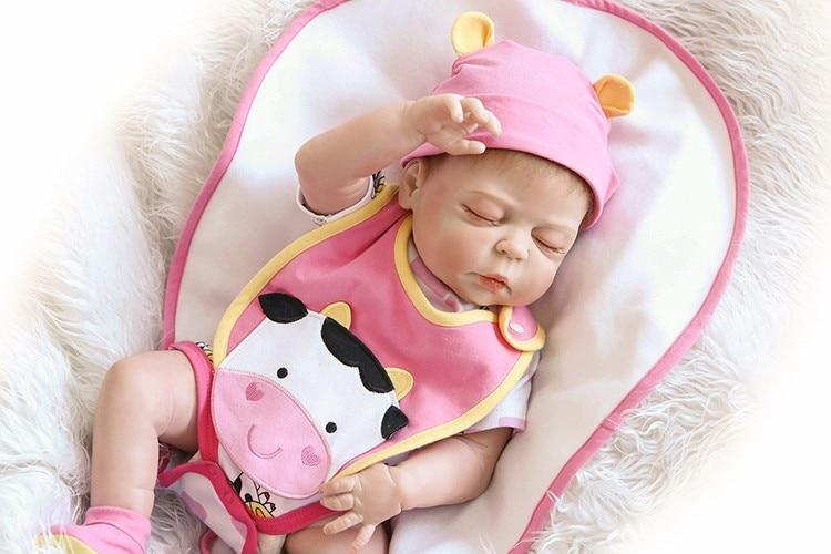 NPK Bebes reborn 19inches 46cm full silicone reborn baby girl dolls gifts toys child bathe toys