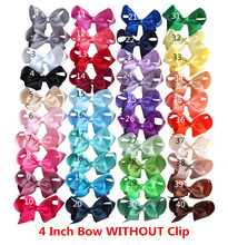 4 inch Bow WITHOUT clips Grosgrain Ribbon Bow Assembly for hair bow Headband DIY Craft Supplies Hair Accessories 40pcs/lot