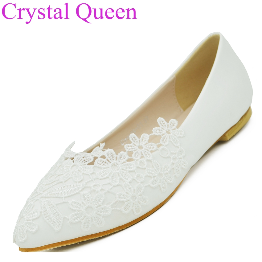 Fashion Ballet Flats White Lace Wedding Shoes Flat Heel Casual Shoes Pointed Toe Flats Women