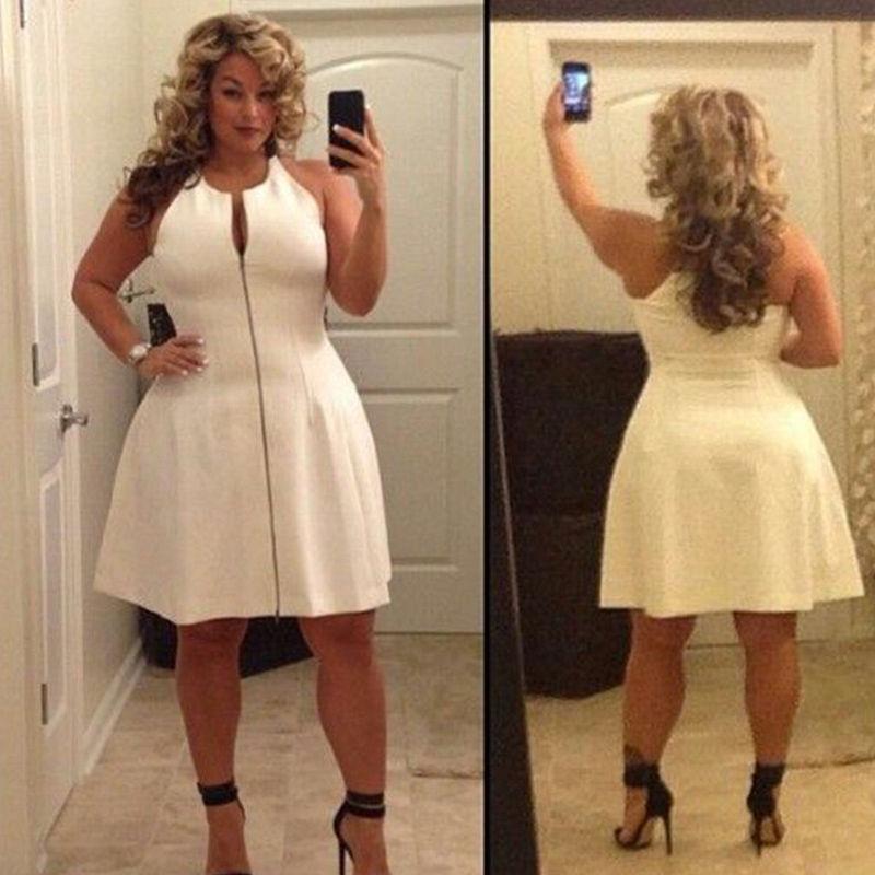 Sexy Women Plus Size Dress 5xl Summer Women Sleeveless Front Zipper
