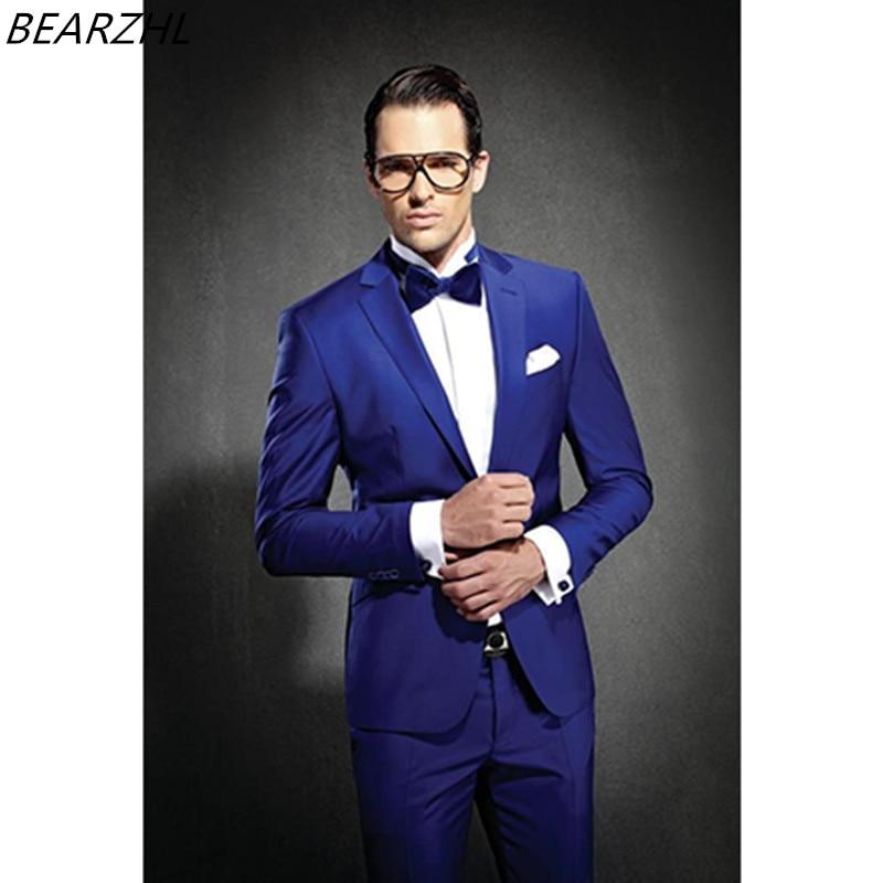 Свадебные костюмы смокинг жениха королевский синий мужской костюм slim fit 2019 портной одежда