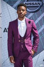 Latest Coat Pant Designs Purple Tuxedo Prom Men Suit Slim Fit 3 Piece Blazers Custom Jacket